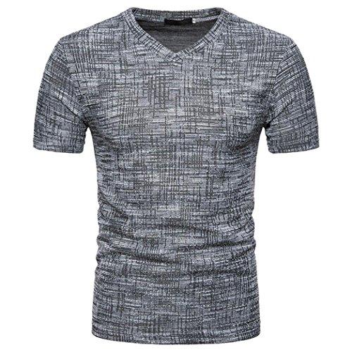 Oversize Vintage Herren T-Shirt Patchwork Streifen Kurzarm Blouse Herren Slim Fit Baumwolle V-Ausschnitt Coole Strassenbande Pullover Trainings Sport Sweatshirt (XL, Schwarz)