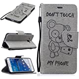 Chreey Coque Samsung Galaxy Grand Prime (SM-G530H / SM-G531F) (5 pouces) (DON'T TOUCH MY PHONE),PU Cuir Portefeuille Etui Housse Case Cover ,carte de crédit Fentes pour ,idéal pour protéger votre téléphone