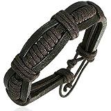 Zense - Fashion triple wrap rope adjustable leather bracelet ZB0068 for men