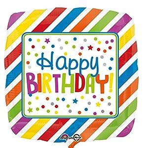 """Amscan International-3460001""""rayas y puntos feliz cumpleaños"""" estándar Foil Balloon"""
