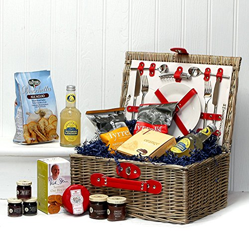 Luxury 2 Person Red Faux Leather Picnic Basket Hamper with Chiller Compartment, Accessories & A Summer Fine Food Selection. Gift ideas for Christmas, Valentines, Mothers Day, Birthday, Wedding, Anniversary, Business and Corporate