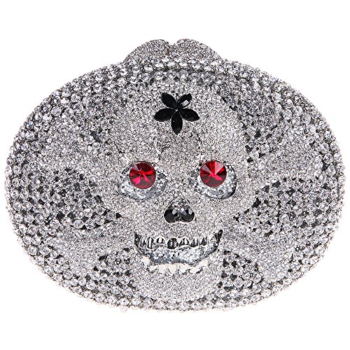 Bonjanvye Crystal Rhinestone Bags Purses with Skulls Clutch Evening Bag for Halloween Party Silver