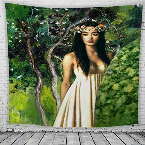 Tapestry Wall Hanging,Grünen Wald Weiße Kleid Frau Im Indischen Stil Print Fabric Böhmische Gotik Psychedelischen Groß Wandteppiche, Für Zu Hause Wohnzimmer Schlafsaal Wandschmuck, 150 × 130 Cm -