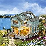 Puppenhaus Bausatz - Mein kleines grünes Haus - Mit LED-Leuchten,DIY Spielzeug Traumhaus,Miniatur Puppenhaus Kits,333223cm