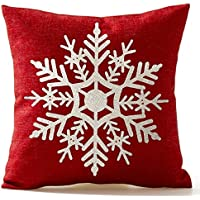 SODIAL(R) Beautiful Snowflake In Red Merry Christmas Gifts flax Throw Pillow Case Cushion Cover Home Office Living Room Sofa Car Decorative Square 18 X 18 inch:Beige + red