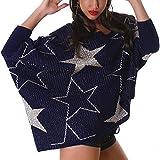 Jela London Damen Oversize Kuschel-Pullover Glitzer Sterne-Motiv Muster Pailletten Fledermaus-Ärmel Wellness Asymmetrisch, Blau Silber