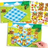 Bilder und Aufkleber mit Teddybären Beim Picknick für Kinder Zum Gestalten, Basteln und Aufstellen – Kreatives Bilder-Bastelset für Kinder (4 Stück)