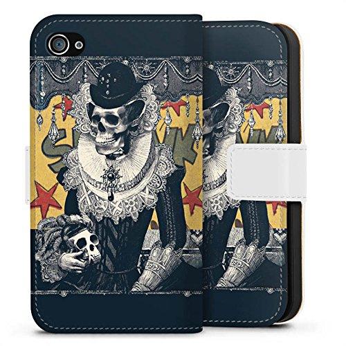 Apple iPhone X Silikon Hülle Case Schutzhülle Totenkopf Schädel Skull Sideflip Tasche weiß