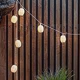 Cadena Solar de Luces para Exteriores con 10 LED Blanco Cálido y Farolillos de Mimbre de Lights4fun