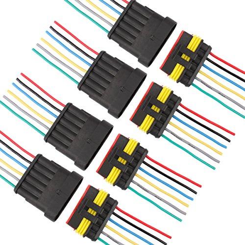 TOMALL 6 Pin Way 16 AWG Wasserdichten Stecker für Elektrische Schnellsteckdose 6 Draht Pigtail 1,5mm Serie (4er Pack)