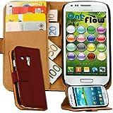 OneFlow Premium WALLET Case / Cover / Schutzhülle im Portemonnaie Design mit Stand-Funktion - für Samsung Galaxy S3 MINI (GT-i8190) - BURGUNDERROT