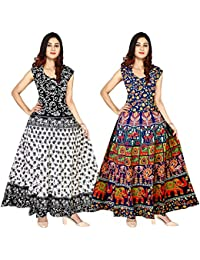 Silver Organisation Cotton Fashion Gowns for Women (Multicolour, Free Size) Pack of 2 Peice