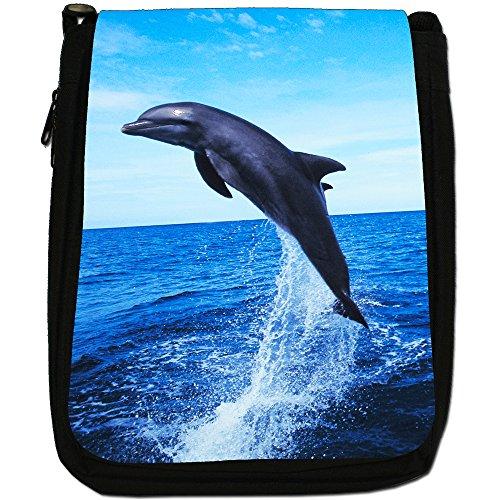 Delfini Medium Nero Borsa In Tela, taglia M Dolphin Jumping