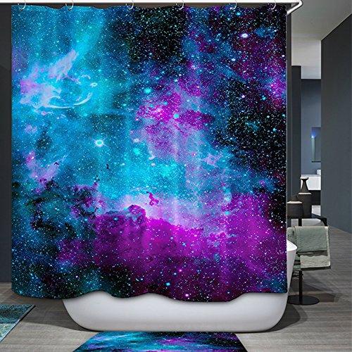 Space Dekorationen Vorhang für die Dusche Blau Deko Galaxy Sternen Print Badezimmerzubehör Weltall, natürlichen Artwork Bad Vorhang YL42, Polyester, 59Wx70L ()