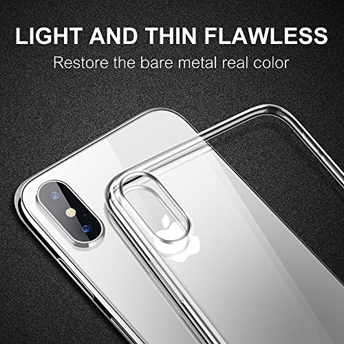 Funda iPhone X  Ubegood carcasa iPhone X TPU Funda Anti Rasguño Anti Golpes Cover Protectora TPU Caso Bumper Slim Silicona Case para iPhone X / iPhone 10 Protectora Funda   Transparent