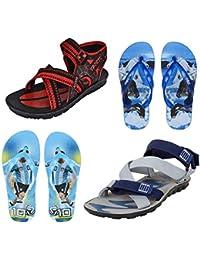 Earton Men Combo Pack of 4 Sandals & Flip-flops