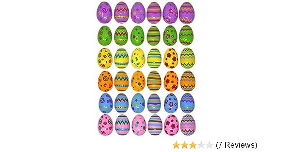 Rocita 24 PCs Jumbo Plastic Printed Bright Easter Egg