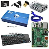 Raspberry Pi 2 Model B Quad Core Complete Starter Kit with Mini Wireless Keyboard and WiFi Adapter (Raspberry Pi B Plus + WiFi Dongle + 8GB SD Card + Blue Clear Case + Power Supply + HDMI Cable) (Blue)