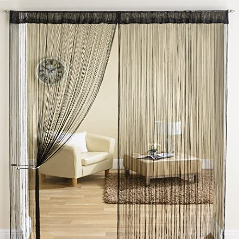 Noir classique à franges avec Panneau de séparation pour rideau de porte ellipse - 90 x 200 cm