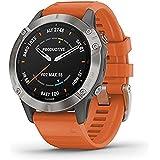 Garmin Fenix 6 Safir Multisport GPS-klocka – titan med orange band
