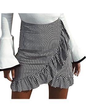 vovotrade Algodón Vestido de la falda de Bohemia de la alta cintura de la mujer de la cebra de la cebra gris