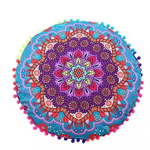"Cojines indio Mandala piso almohadas redondas de almohadas de cojín bohemio cubierta funda By LMMVP (43*43cm/(17.0*17.0""), D)"