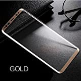 Tempered Glass Screen Protector For Samsung S8 Matte Tempered Glass 4D Curved Edge 9H Hardness Oleo Phobic Coating Tempered Glass (Gold)