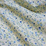 Tela de algodón crema con forma de flores azules (por metro)
