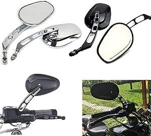 Motorrad Universal 8mm Rückspiegel Für Harley Dyna Road King Softail Touring Xl 883 Sportster Fatboy Fxdb Flstf Schwarz Auto