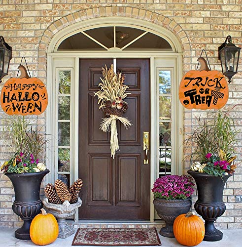 LUCKKYY Halloween-Hängeschild Dekoration - Trick or Treat Happy Halloween Outdoor Hard Haunted House Schild Halloween Party Supplies