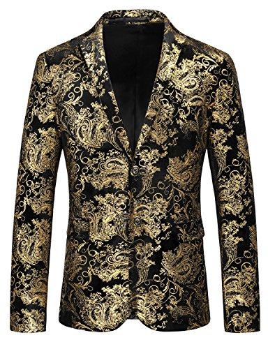 Herren Luxus Casual Dress Suit Slim Fit Blumendrucke Stilvolle Gold Blazer Mäntel Chic Jacken (Gold, 2XL)