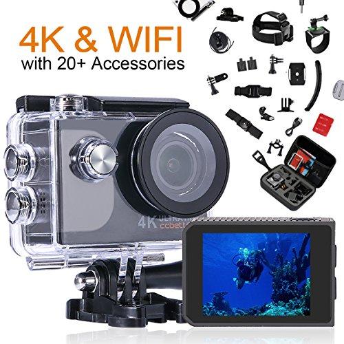 ccbetter Action Cam 4K Ultra Full HD Unterwasserkamera 20MP Wifi Action Kamera Wasserdicht Sport Helmkamera 170° Weitwinkel mit 2 Akku und kostenloses Zubehör Kits