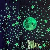 Luminoso Pegatinas de Pared, 30cm Luna y Estrellas Puntos 435 Pzas, Fluorescente Decoración de Pared para Dormitorio de Niños