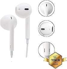 Oppo F7 Headphones 3.5mm Jack Headphones Calling Mic ; in-Ear Super Extra Bass White Handsfree by MATT Pie