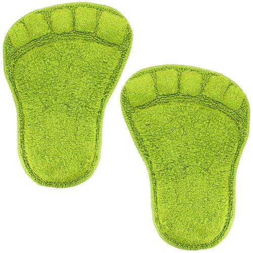 Promobo Set 2Badematte Design Fußabdruck Form Fuß grün