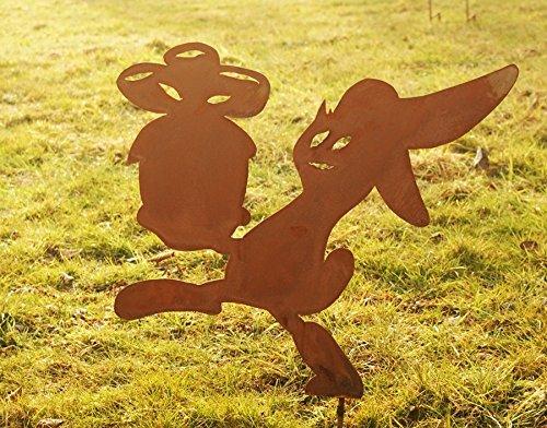 NEU Gartendeko Hase Osterhase schleichend Rost Stab