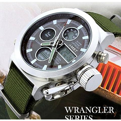 lionm militare con quadrante grande allarme data digitale cinturino in nylon verde militare uomini di sport orologio da polso