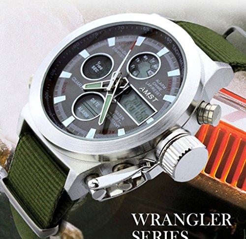 Modo Militare Grande quadrante allarme data digitale cinturino in nylon verde militare uomini di sport orologio da polso
