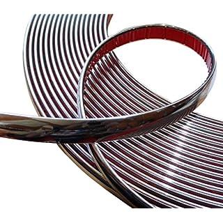Aerzetix Silver Nickel Adhesive Decorative Trim Strip, Chrome (Width: 15 mm, Length: 4.5 m)