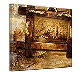 Kunstdruck - Schiff Retro - Bild auf Leinwand - 40 x 40 cm - Leinwandbilder - Bilder als Leinwanddruck - Urban & Graphic - Collage - Fotocollage - Seefahrt - Schiffe