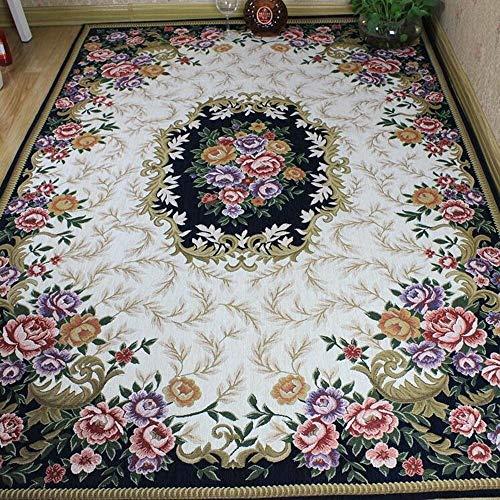 Fengkuo Britischen Stil Gartenteppich Rosengarten Couchtisch Wohnzimmer Rechteckigen Land Teppich Baumwolle Plus Seidenteppich Waschbar Innendekorationen (Size : 160 * 230cm) -