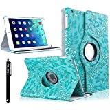 iPad Air 2 Case, TabPow [360 Degrees][Flip][Smart Case] Grapevine Turquoise PU Leather Flip Case [Magnetic Closure] Smart Cover With Stand [Auto Sleep/Wake] For Apple iPad Air 2/ iPad 6th Generation Turquoise Blue