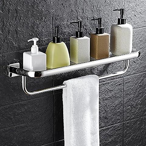 LJHA Étagère en verre en acier inoxydable Étagère de salle de bain à une seule couche Étagère à serviette de toilette à cosmétiques murale (6 pièces en option) ( Couleur : B , taille : 73*14CM )