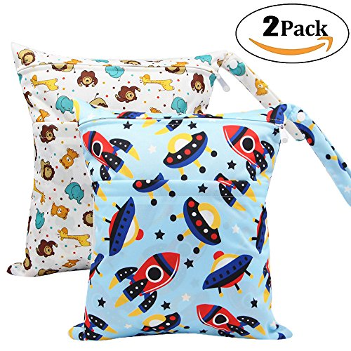 """2 Pack Baby Wet and Dry Cloth Diaper Bags Waterproof Reusable with Two Zippered Pockets,12""""x 14"""",Animals rocket&graffie 2 Pack"""