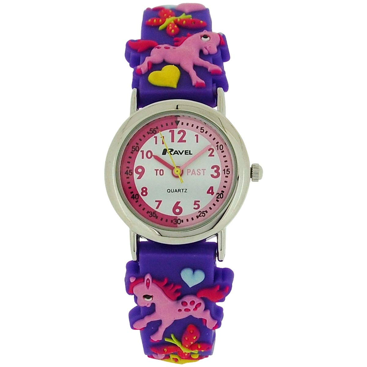 "Ravel Time Teacher Girls 3D""Love My Pony"" Purple Rubber Strap Watch R1513.70"