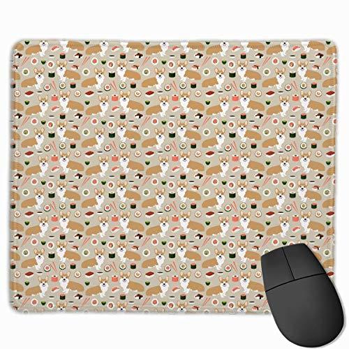 (Drempad Gaming Mauspads Custom, Non-Slip Mouse Pads Rectangle Rubber Mousepad Sushi Corgi Dogs Print Gaming Mouse Pad)
