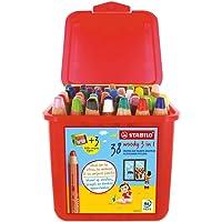 Crayon de coloriage - STABILO woody 3in1 - boite x 38 crayons de couleur + 3 tailles-crayon