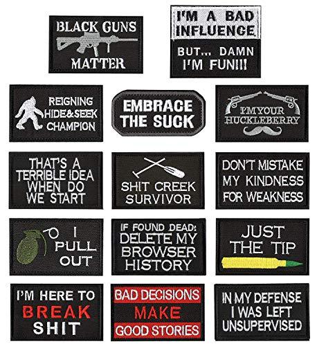 WZT 14-teiliges witziges taktisches Militär Morale Patch Full Stickerei Patch Set für Caps, Taschen, Rucksäcke, Kleidung, Weste, Militäruniformen, taktische Ausrüstung - Kostüm Military Gun Set