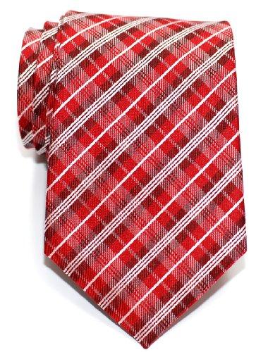 Retreez Herren Krawatte aus gewebter Mikrofaser im Vintage-Stil, Karomuster, verschiedene Farben - Rot - Einheitsgröße