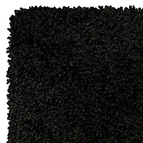 Home Life Alfombra con Diseño Super Shaggy, Polipropileno, Negro, 80 x 150 cm